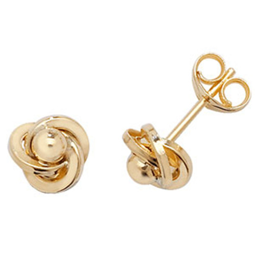 9ct Gold Small Ball in knot stud Earrings