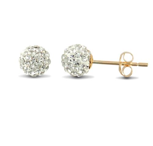 6mm white crystal ball shamballa 9Ct Gold Stud Earrings