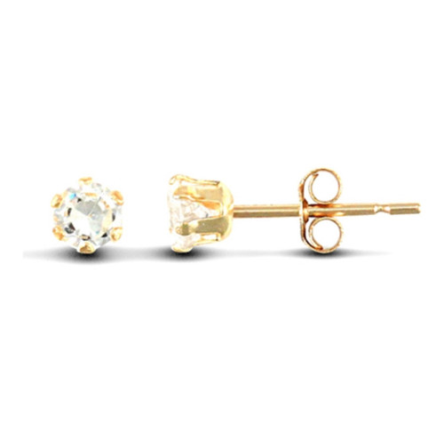3mm 9ct gold six claw Cubic Zirconia stud earrings