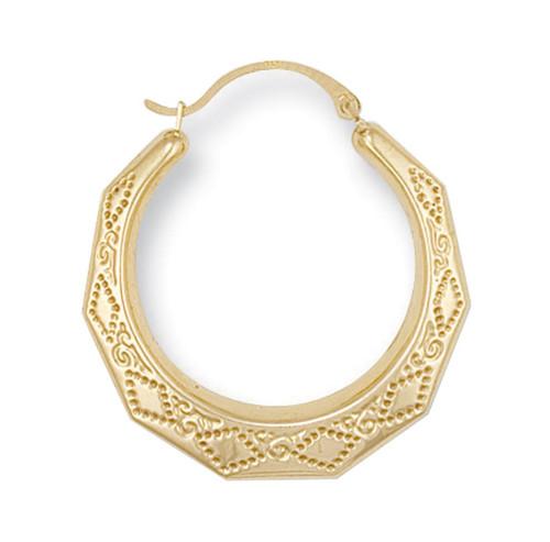 2.8cm wide 9ct Gold Diamond cut Creole Earrings 1.3g