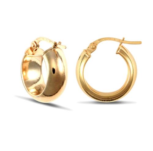 1.5cm wide 9ct Gold D-shape wedding band style Hoop Earrings