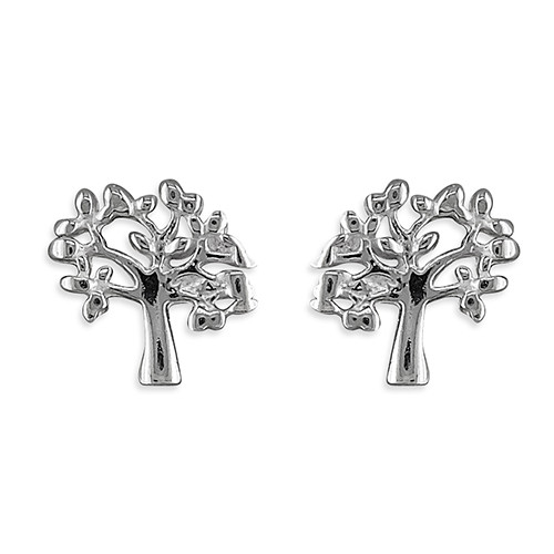 Sterling silver small tree of life stud earrings
