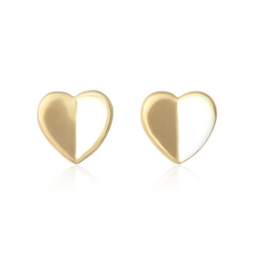 Sterling Silver Yellow gold plated heart stud earrings