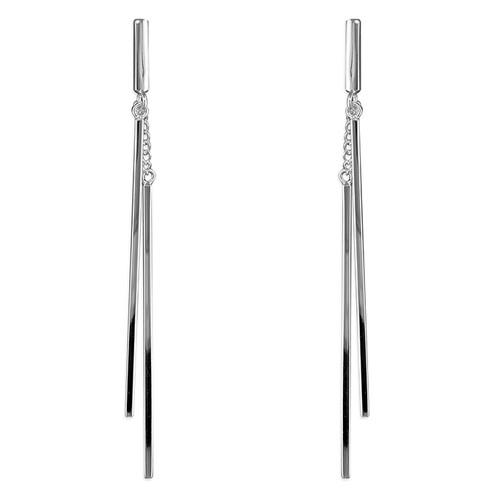 Sterling Silver Double Bar Drop Stud Earrings