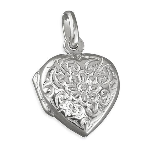 Sterling silver heart shaped floral flower embossed locket