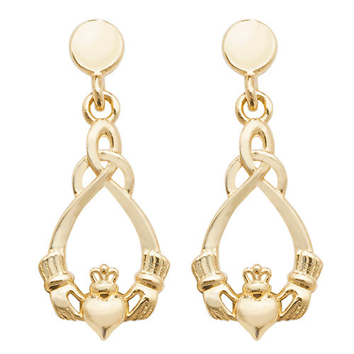 9ct Gold claddagh and knot drop stud earrings