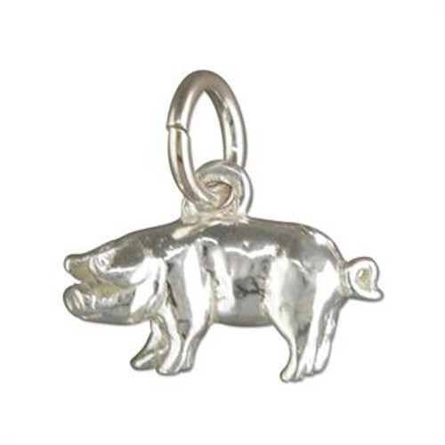Sterling Silver Small Pig Charm