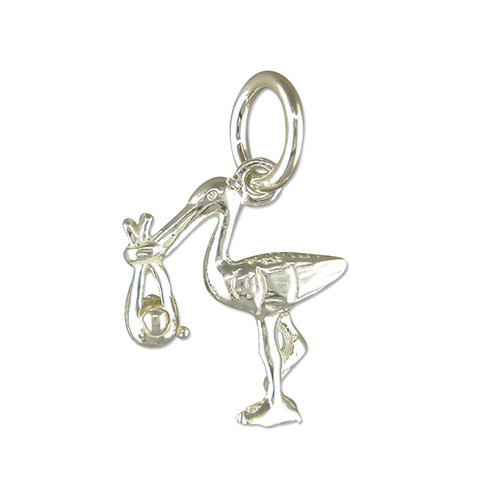 Sterling Silver Small New Baby Stork Charm