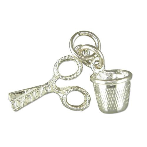 Sterling Silver Thimble and Scissors Charm