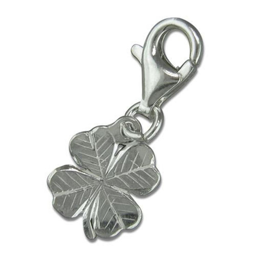 Sterling silver clip on four leafed clover charm
