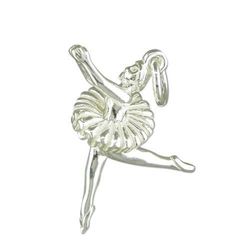 Sterling Silver Ballerina Dancing Charm with moving TuTu