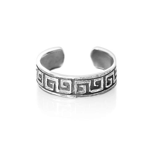 Sterling Silver Greek Key toe ring