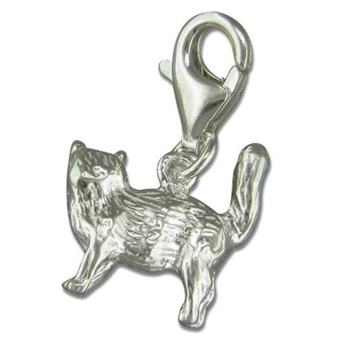 Sterling Silver clip on Cat charm