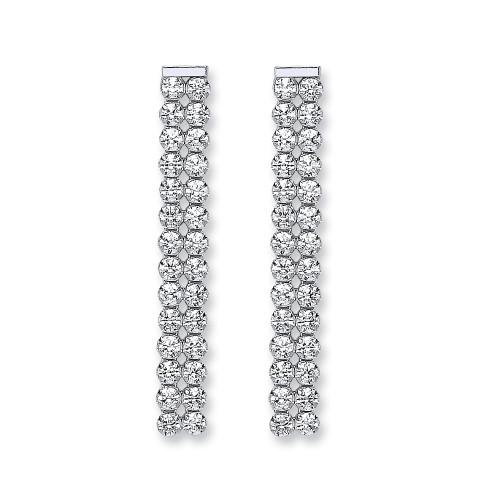 Sterling silver cubic zirconia double row drop stud earrings
