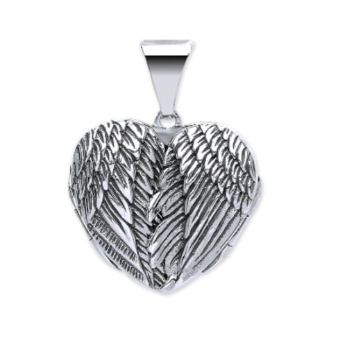 Sterling Silver Heart shaped Angel wing locket