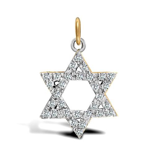 9ct Gold Cubic Zirconia Star of David pendant 2.3g