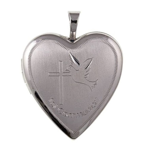 Sterling Silver Heart Shaped Engraved First Communion Locket