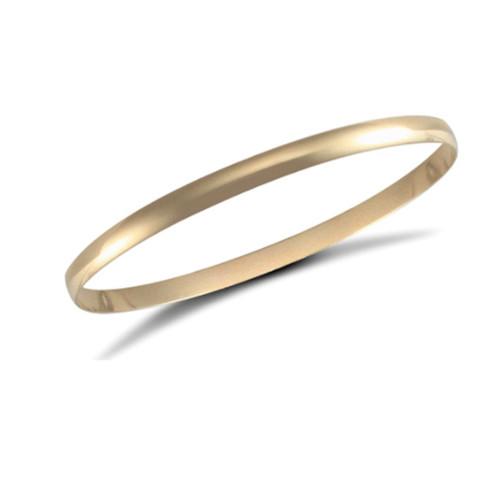 9ct Gold 4mm thick Plain D-shape Slave Bangle 7.4g Hallmarked