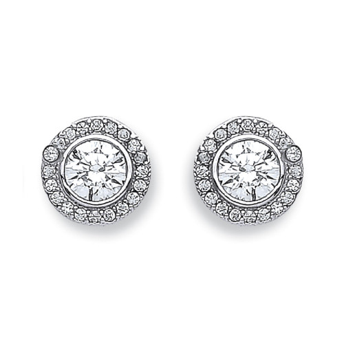 9mm Round Cubic Zirconia halo 9Ct white Gold Stud Earrings