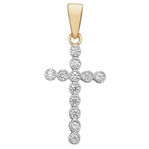 9ct Gold Rubover Cubic Zirconia Cross Pendant 0.5g