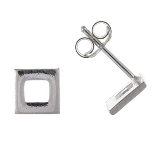 Sterling Silver Gents cut out square single stud Earring