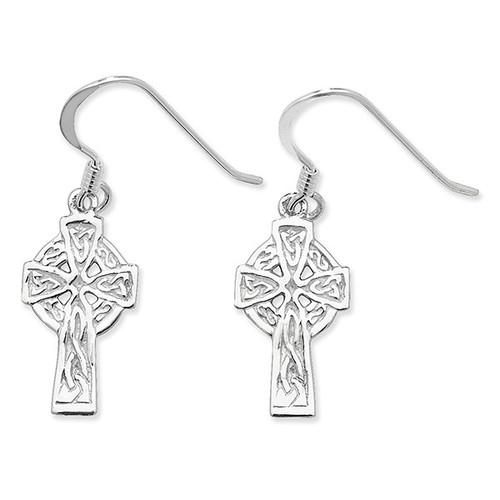 Sterling Silver Hook in Celtic cross drop earrings