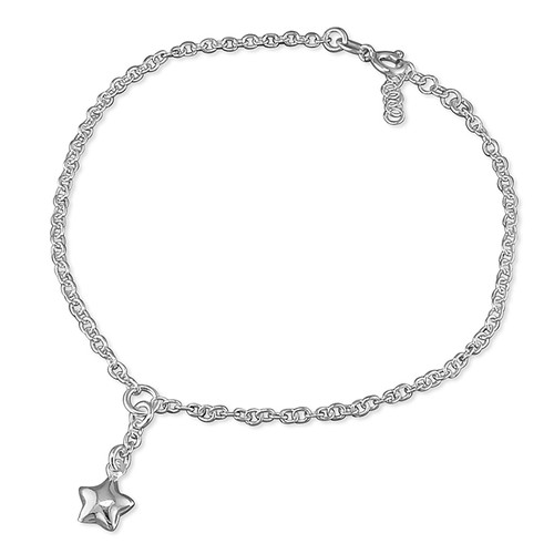 """10"""" Sterling silver Belcher Anklet with puffy star charm"""