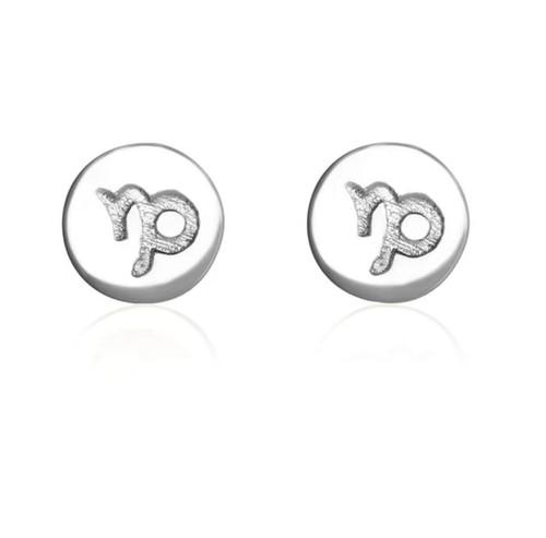 Sterling Silver Capricorn starsign Zodiac stud Earrings