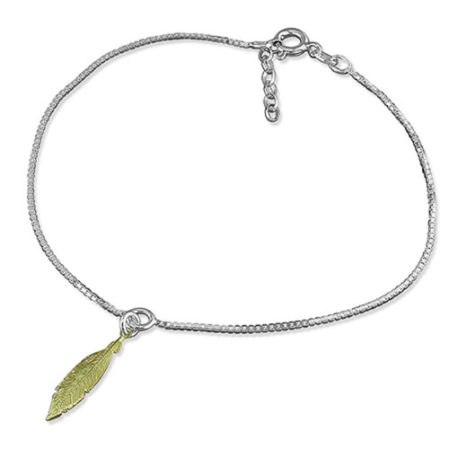 """9.5""""-10.5"""" Sterling Silver Box Chain Anklet with Gold Plated Feather Charm 2.2g"""