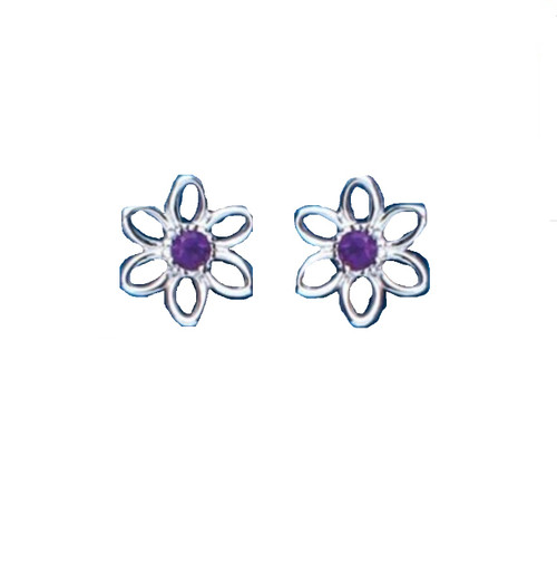 Sterling Silver Amethyst Set Flower Stud Earrings