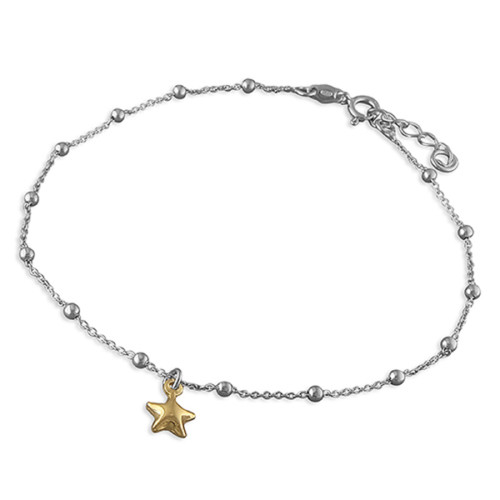 """10"""" -11"""" Ladies Sterling Silver Beaded Anklet With Yellow Gold Plated Star Charm"""