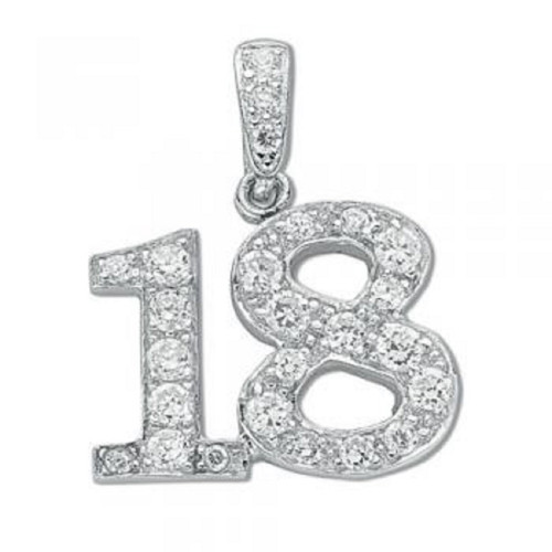 Sterling Silver 18th Birthday Cubic Zirconia Pendant
