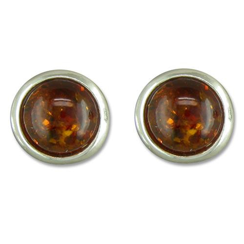 Sterling Silver Round Cognac Amber stud earrings