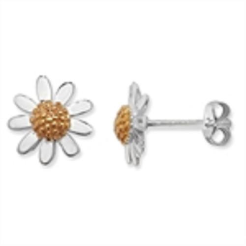 Sterling Silver Two Tone Daisy stud earrings