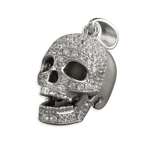Sterling Silver Cubic Zirconia Skull Pendant