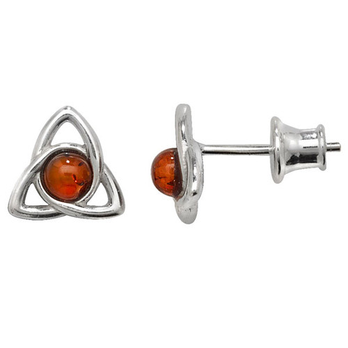 Sterling Silver Amber Triquetra stud Earrings