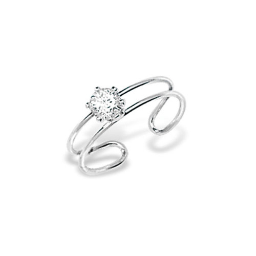Sterling Silver Cubic Zirconia Solitaire Toe Ring