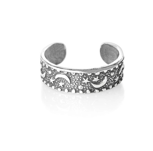 Sterling Silver Stars and Moon toe ring