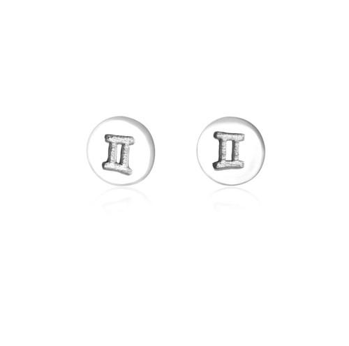 Sterling Silver Gemini starsign Zodiac stud Earrings
