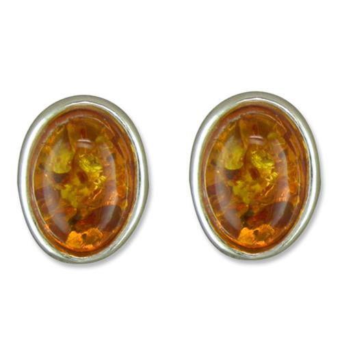 Sterling Silver Cognac Amber stud Earrings
