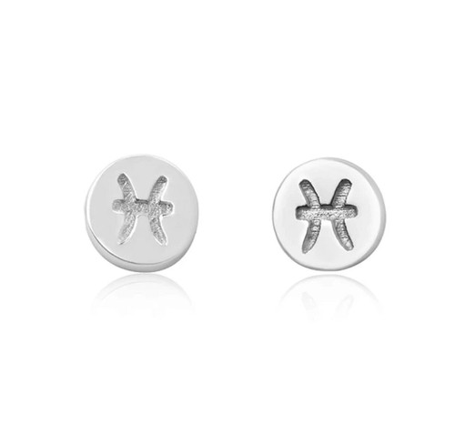 Sterling Silver Pisces starsign Zodiac stud Earrings