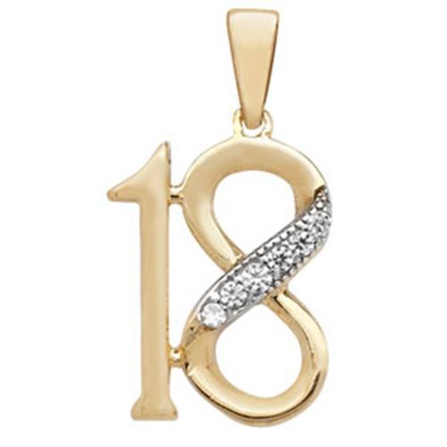 9ct Gold cubic zirconia 18th Birthday Pendant