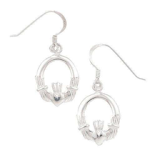 Sterling Silver Hook in Claddagh Drop Earrings