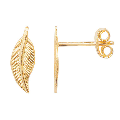 Sterling Silver yellow gold plated feather stud earrings