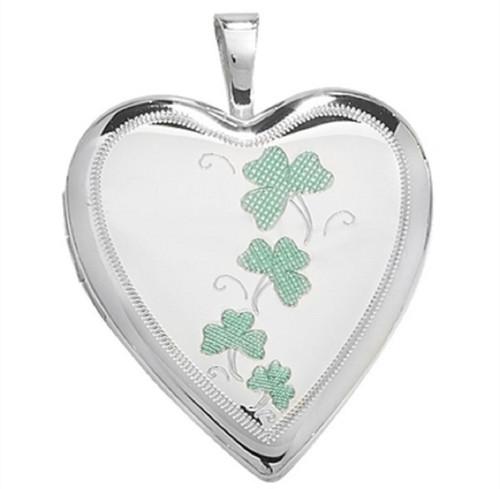 Sterling silver heart shaped shamrock engraved locket 3g