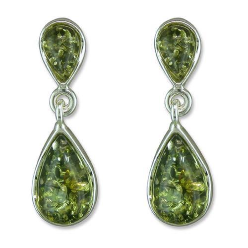 Sterling silver green amber double teardrop stud drop earrings
