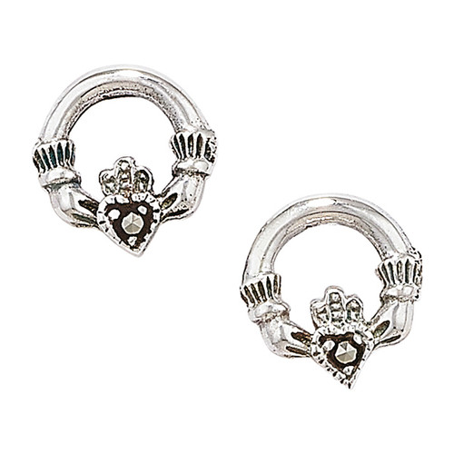 Sterling Silver Small Marcasite Claddagh Stud Earrings