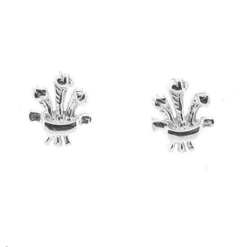Sterling silver Plume of feathers stud earrings