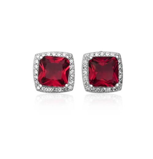 Sterling Silver Princess cut Ruby Cubic Zirconia halo stud earrings