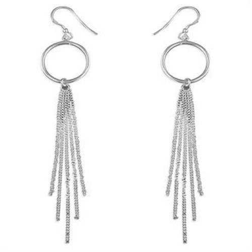 Sterling Silver Hook in Circle and Tassel Drop Earrings